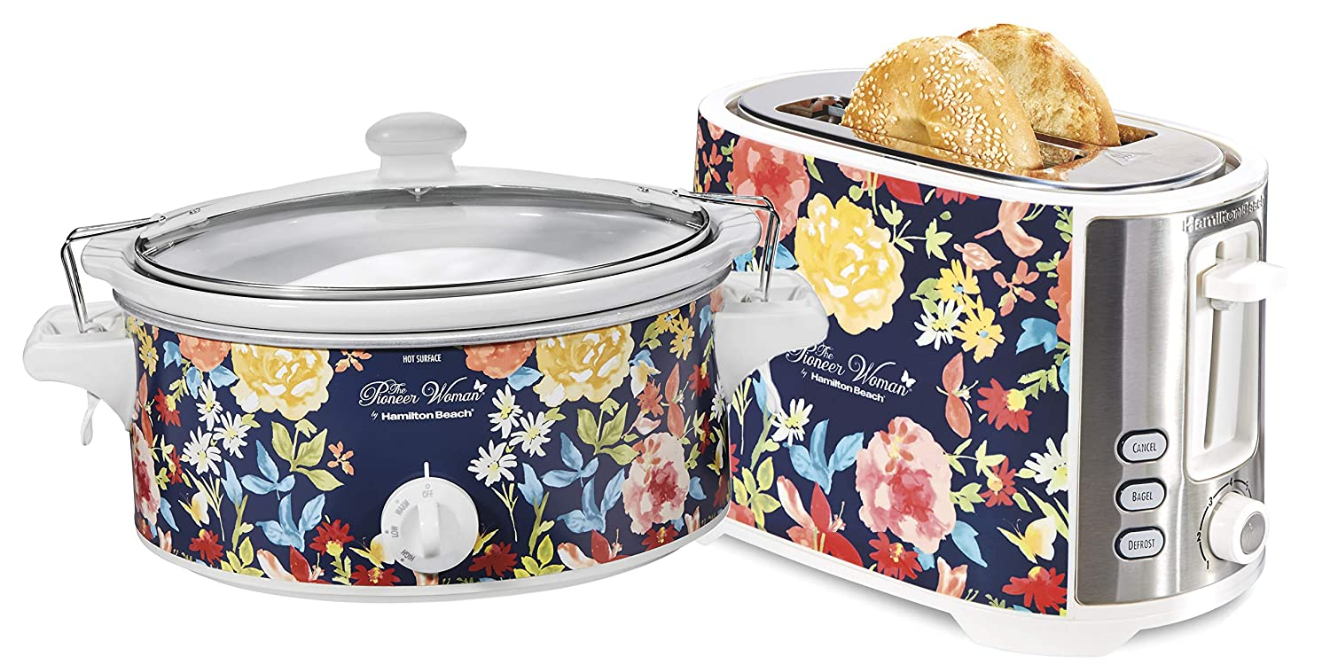 The Pioneer Woman 6-Quart Portable Floral Slow Cooker with Extra-Wide Slot 2 Slice Toaster