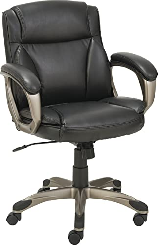 Alera ALE Veon Series Low-Back Leather Task Chair w/Coil Spring Cushioning