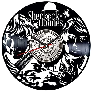 Sherlock Holmes Vinyl Record Wall Clock Poster - Vintage Home Decor Kitchen Bedroom Living Room Office - Unique Handmade Gift for Men Woman Friends Boys - 12 inches