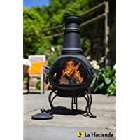 (free cover) 89cm Black Steel Chimenea Chiminea With Pull Out Cooking Grill