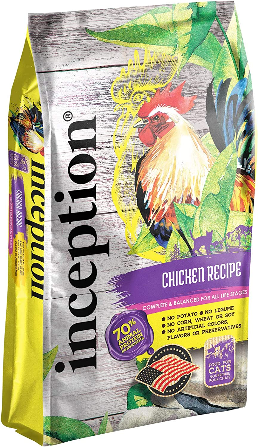 Inception Dry Cat Food Chicken Recipe – Complete and Balanced Cat Food – Meat First Legume Free Dry Cat Food – 4 lb. Bag