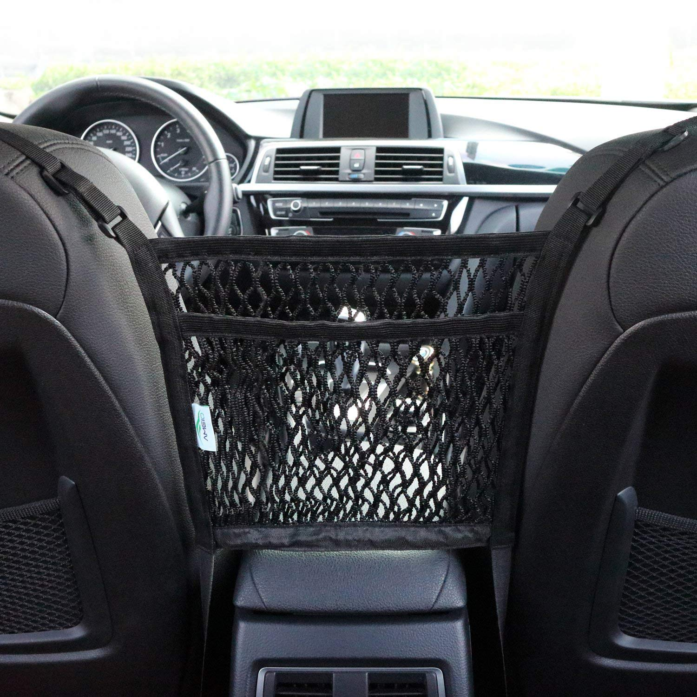AMEIQ 2-Layer Car Mesh Organizer, Seat Back Net Bag, Barrier of Backseat Pet Kids, Cargo Tissue Purse Holder, Driver Storage Netting Pouch. (3 optional styles) by AMEIQ