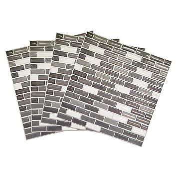 Tile & Sticker 3D Autocollant Mural Imperméable Auto-adhésif en mosaïque  pour la Salle de Bain et la Cuisine Noir, Gris et Blanc 23 x 23cm Lot de 4