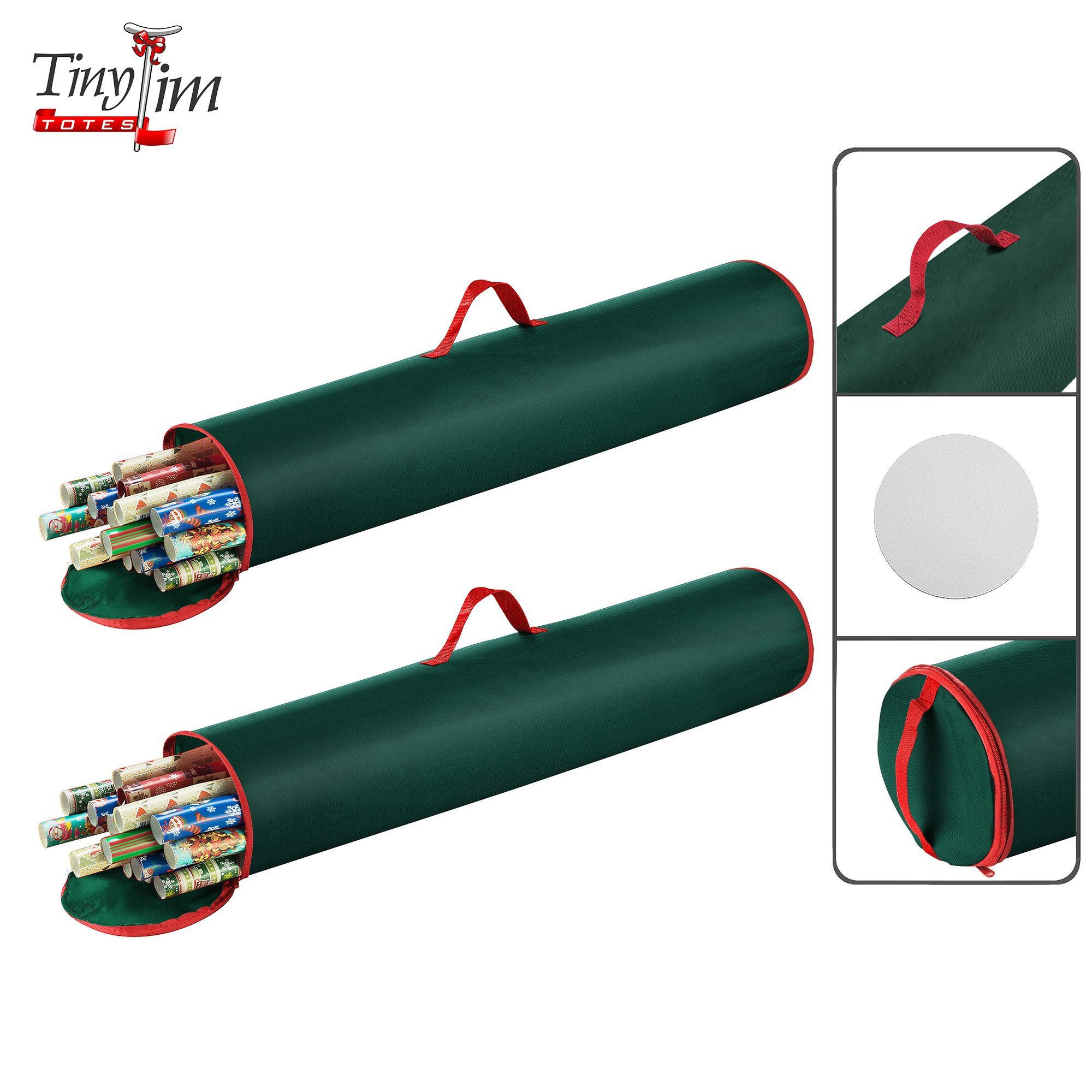 Tiny Tim Totes 83-DT5540 Premium Single and 2 40.5 Inch Wrapping Paper Storage Bag | Red Canvas (Green, 2-Pack)