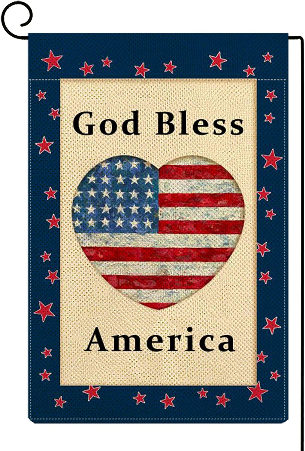 Molili God Bless America Garden Flag Burlap Vertical Double Sided,Farmhouse Veterans Day Patriotic American Flag Memorial Independence Day Garden Yard Decor ,Seasonal Outdoor Flag 12.5 x 18inch