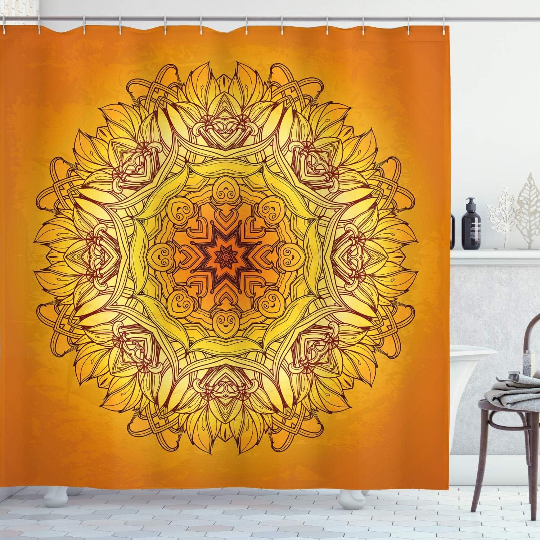 Abstract Shower Curtain Grunge Sun Boho Figure Print for Bathroom