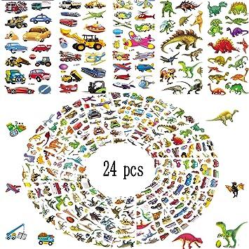 MMTX 3D Pegatinas para Niños,400+ 3D Puffy Pegatinas,24 Hojas Variedad Pegatinas Incluye Autos,Trenes,Aviones,Camiones de Bomberos,Dinosaurios y Más ...