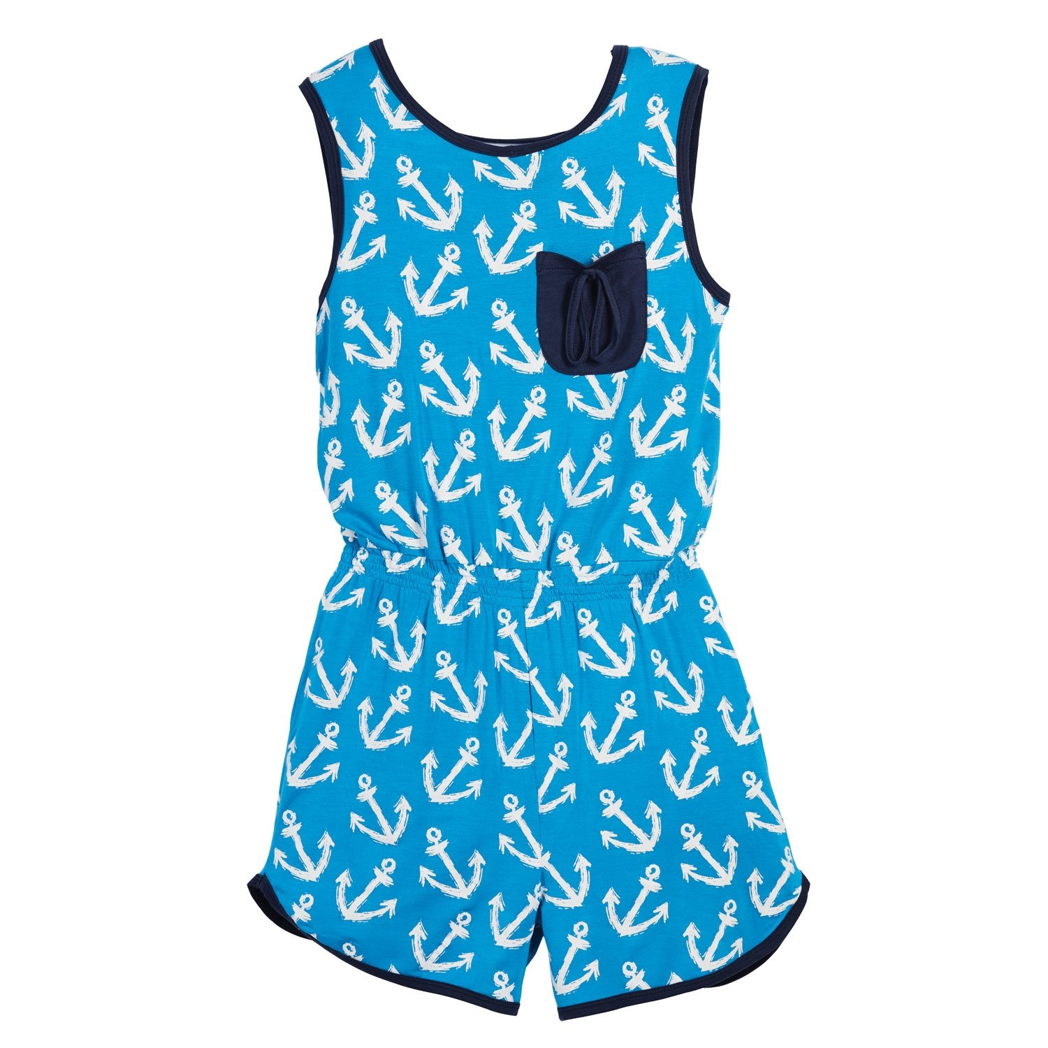 Beachcombers Girl's Tops Rayon/Spandex Anchor Romper Blue/White Small