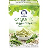 Gerber Graduates Organic Veggie Crisps, Green, 5 Count (Pack of 2)
