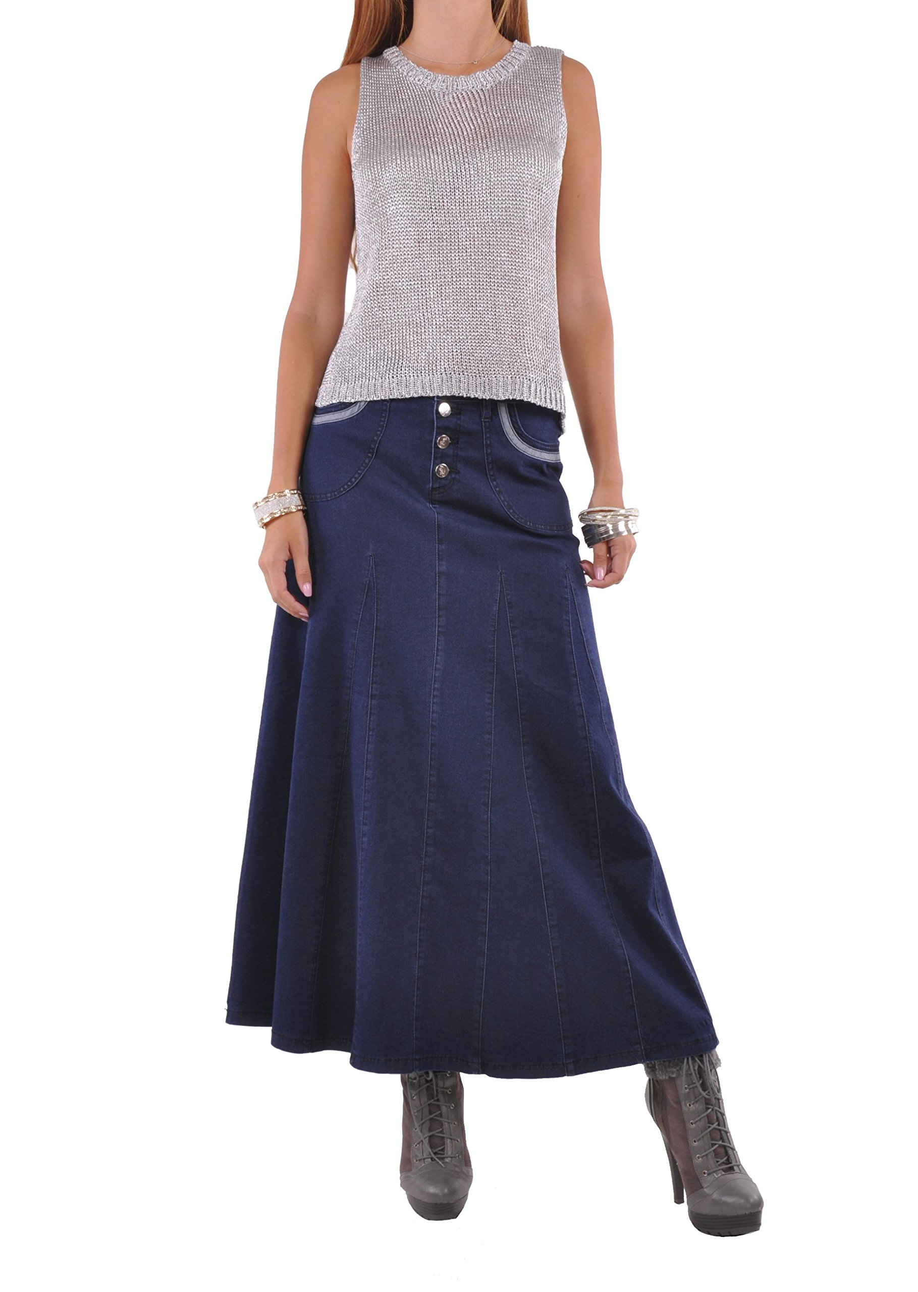 Style J Effortless Beauty Denim Skirt-Blue-30(10)