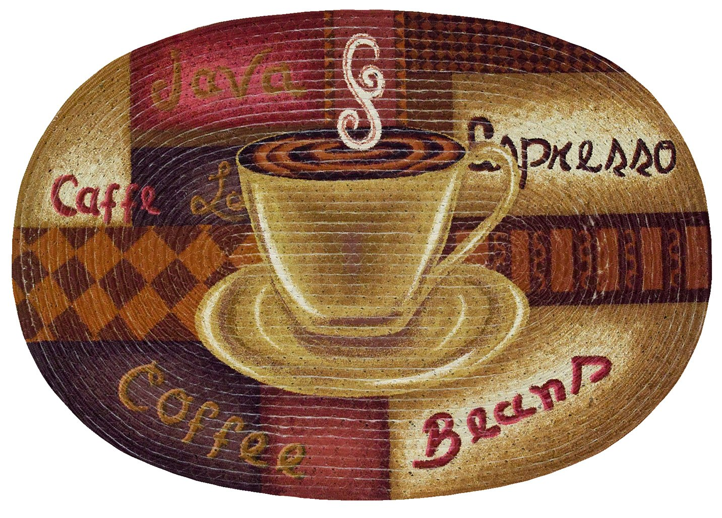 Sweet Home Collection Braided Printed Oval Floor Mat, 20'' x 30'', Coffee