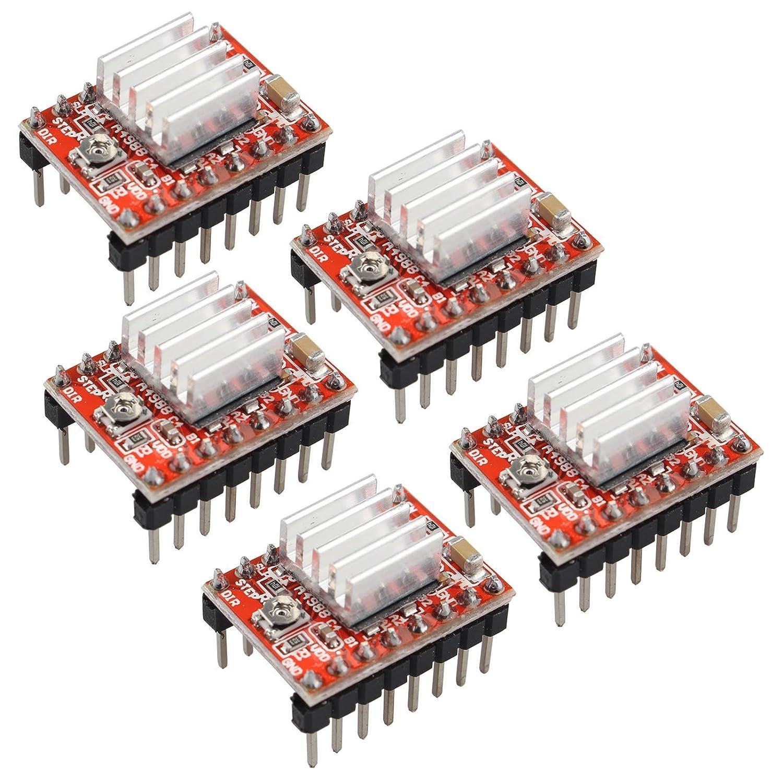 Haljia 5/pcs A4988/Stepstick Stepper Motor Driver module Dissipateur de chaleur pour imprimante 3d RepRap