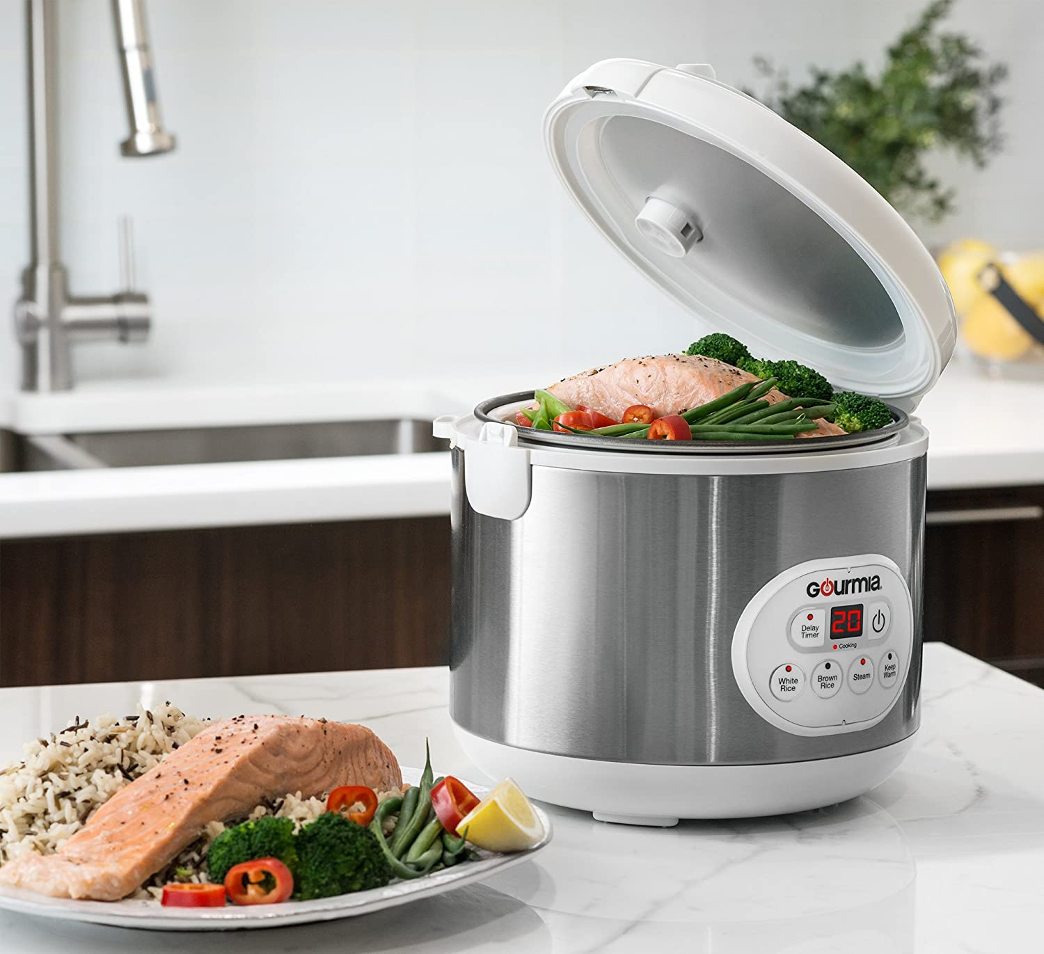 Amazon.com: Gourmia GRC770 12 Cup (Cooked) Rice Cooker and Steamer ...