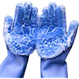 """Cleaning Sponge Gloves, Dishwashing Gloves, Silicone Reusable Cleaning Brush Heat Resistant Scrubber Gloves for Housework, Kitchen Clean, Bathroom, Bathing, Car Washing. 1 Pair (13.6"""" Large)"""
