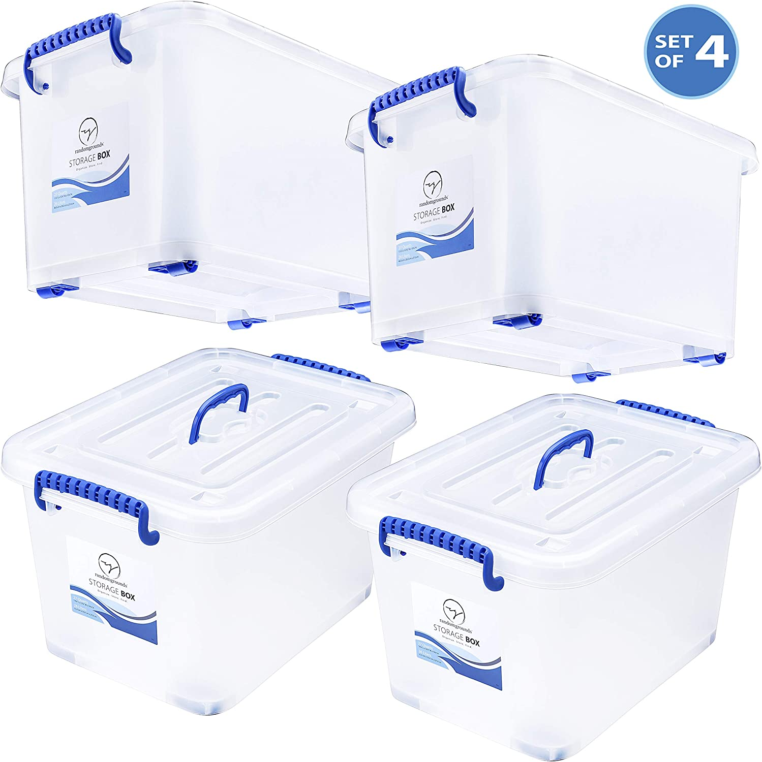 Storage Bins with Lids and Wheels - Great for Toys Shoes Clothes Bed Craft Tools Closet Pantry Kitchen Office Organization - Plastic Stackable Tote Box Containers - Semi Clear White, 27 Quart Set of 4