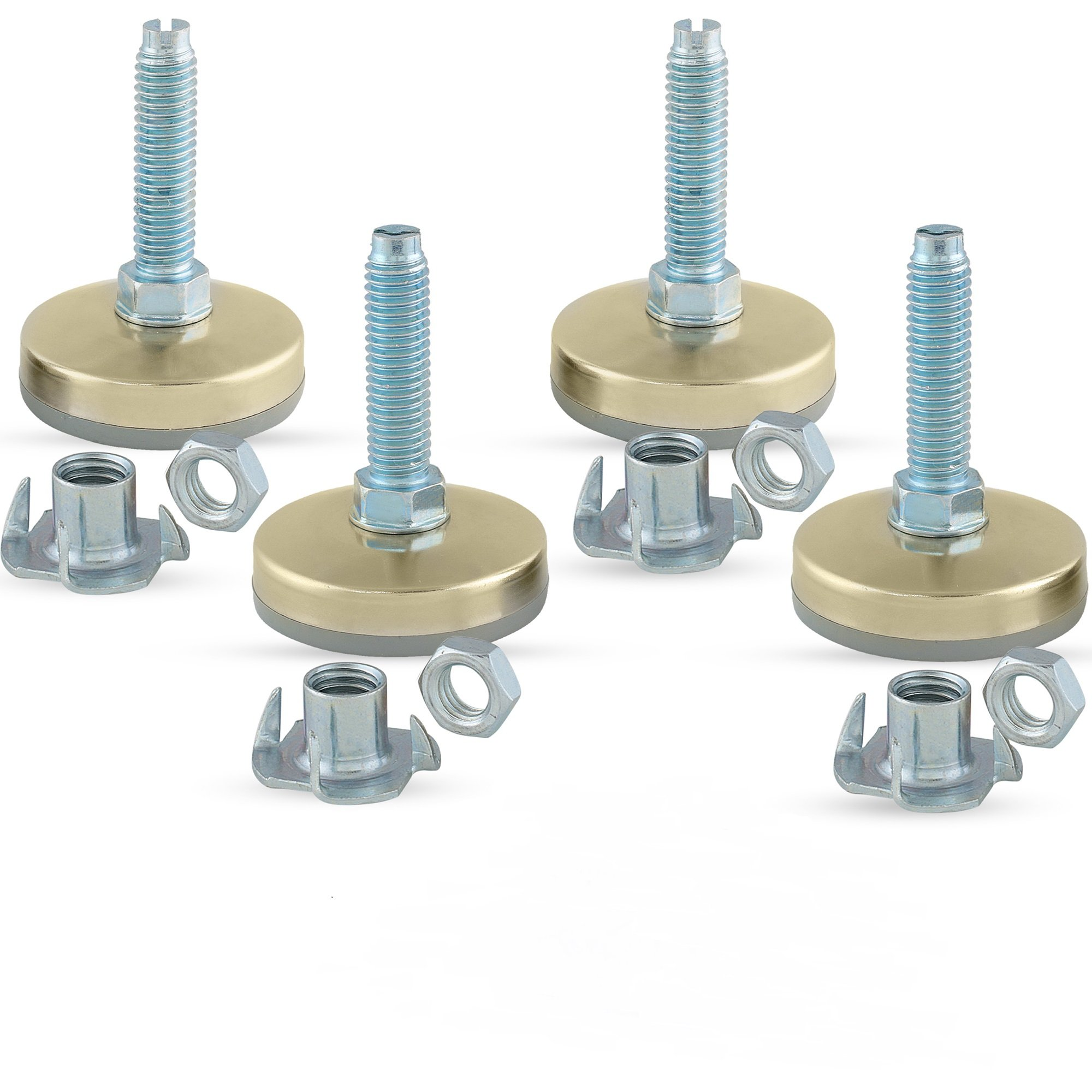 Heavy Duty Furniture Leveler Tee Nut Kit – Set of 4-3/8-16 Non-Skid Leg Levelers for Cabinets or Tables to Adjust Height of The Legs or Feet Jam Nuts to Stabilize Each Foot (Kit with 4 Prong T-Nuts) by Impromech Hardware (Image #3)