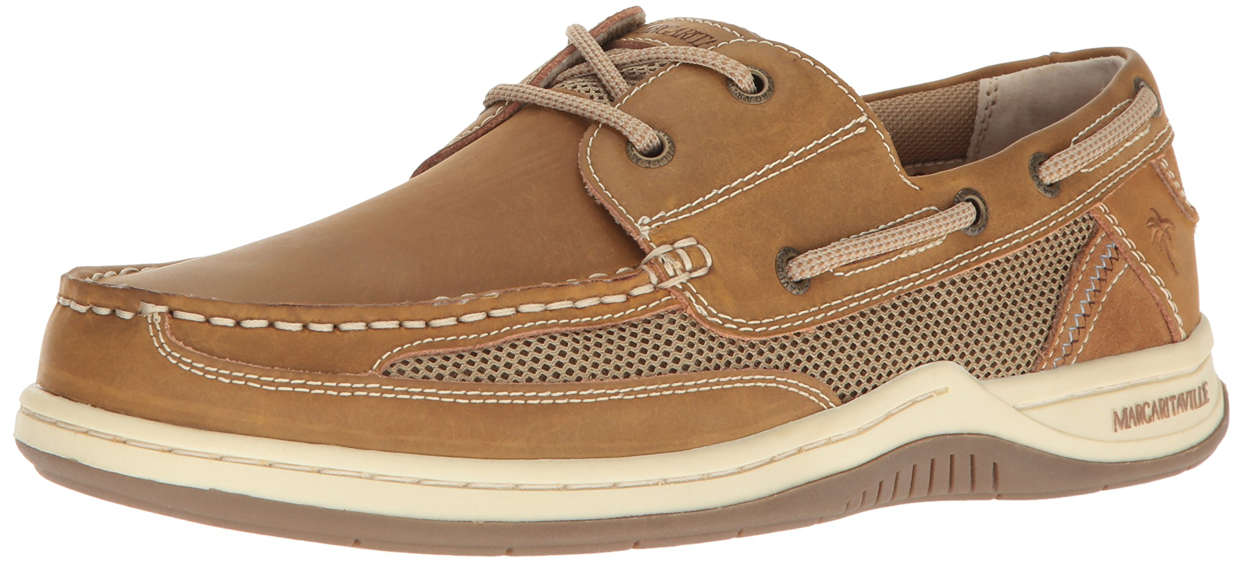 Margaritaville Men's Anchor Lace Boat Shoe, Light Tan, 11 by Margaritaville
