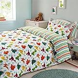 Dreamscene Kids Duvet Cover Pillowcase Bedding Set Boys Girls Dinosaur Reversible Stripe - Single