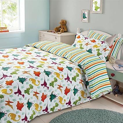 Copripiumino Dream Fun.Dreamscene Kids Duvet Cover Pillowcase Bedding Set Boys Girls Dinosaur Reversible Stripe Double