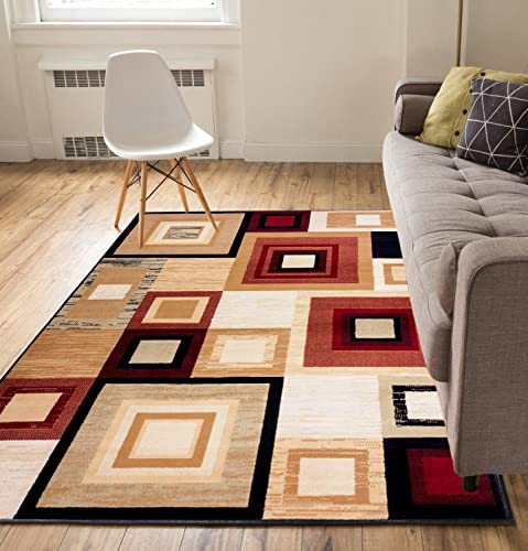 Well Woven Geometric Squares Red 5 x 7 Area Rug Carpet