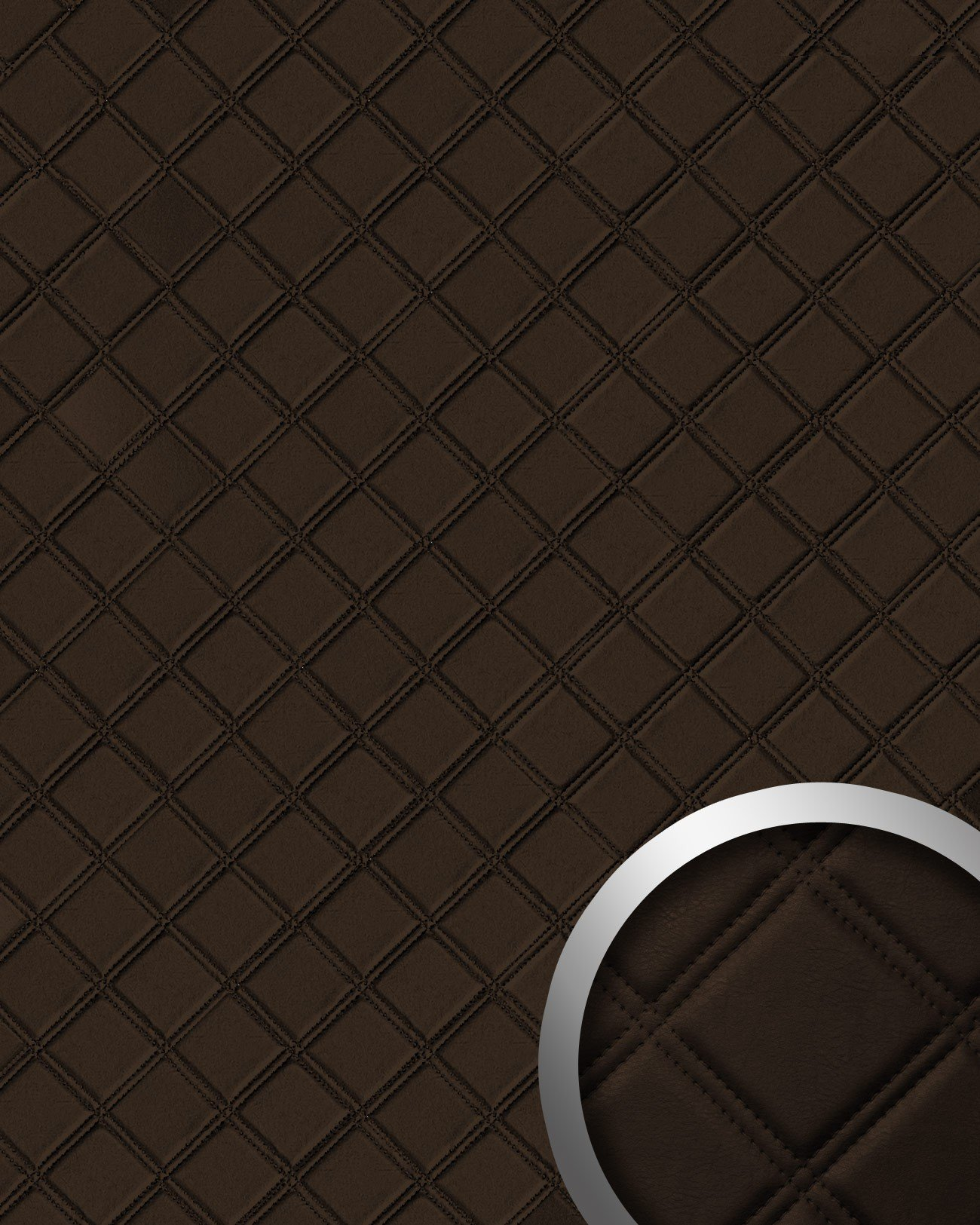 WallFace 15037 ROMBO Wall panel leather square 3D interior decor luxury wallcovering self-adhesive brown   2,60 sqm