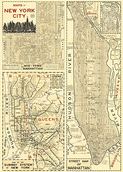 Amazon.com: Cavallini & Co. New York City Map Poster Wrapping Paper ...