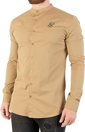 Sik Silk Hombre Camisa Oxford Stretch Fit, Beige, X-Small: Amazon.es: Ropa y accesorios
