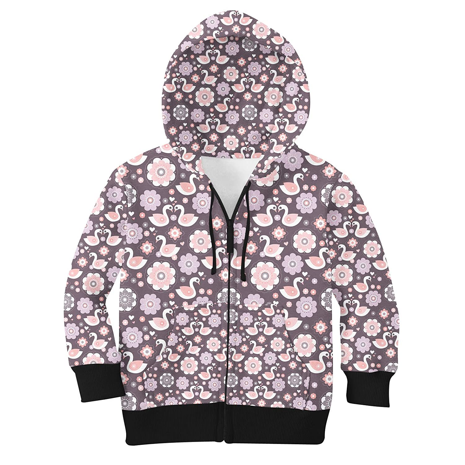 10 Romantic Swans & Flowers Kids Zip Up Hoodie Unisex