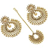 Muchmore Gold Plated Dangle & Drop Earrings With Mangtikka For Women