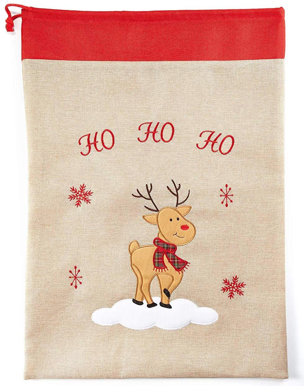 Weihnachtsmann-Sack JUTE verschiedene Motive /& Kordel Geschenkesack Weihnachten