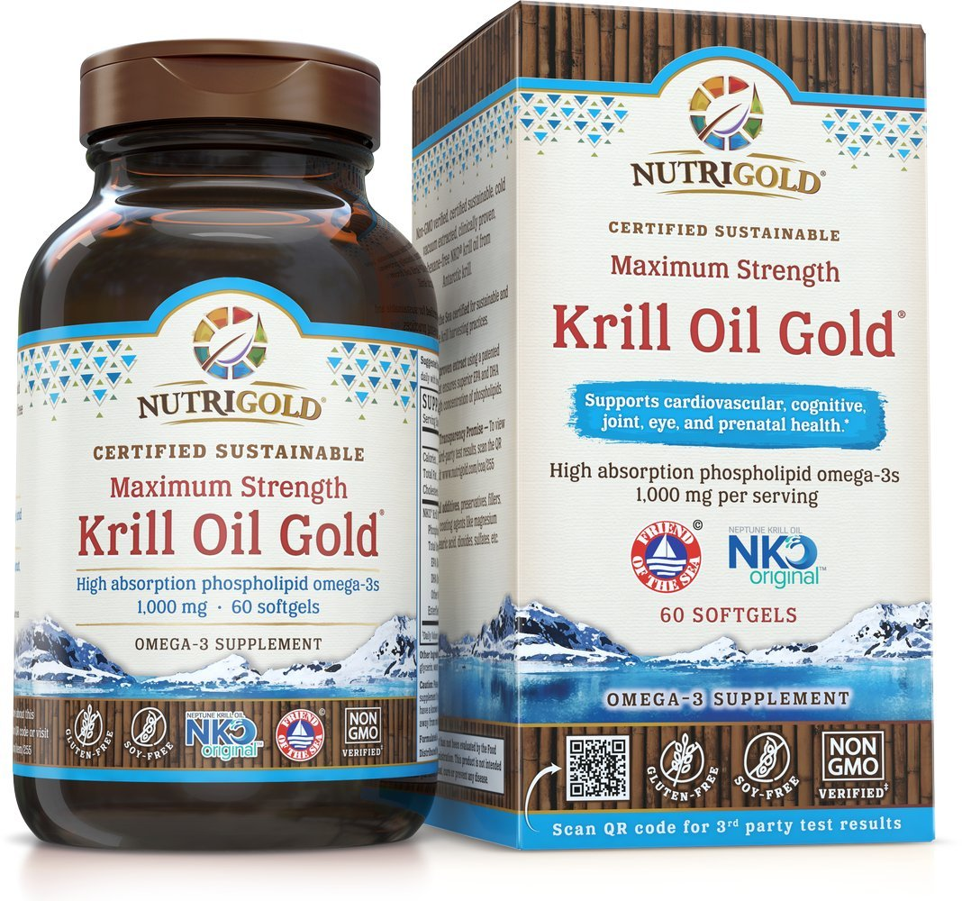 Maximum Strength Krill Oil Gold - 1000 mg, 60 softgels IKOS 5-Star Certified, Hexane-free, Cold-Pressed Neptune Krill Oil with Astaxanthin