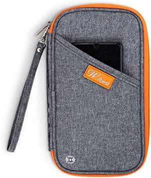 Gris S Porte-Documents Organisateur de Passeport Porte-Documents Cartes RFID Billets Pochette Portefeuille Family Travel 3 Couleurs en Option Gris Orange Noir