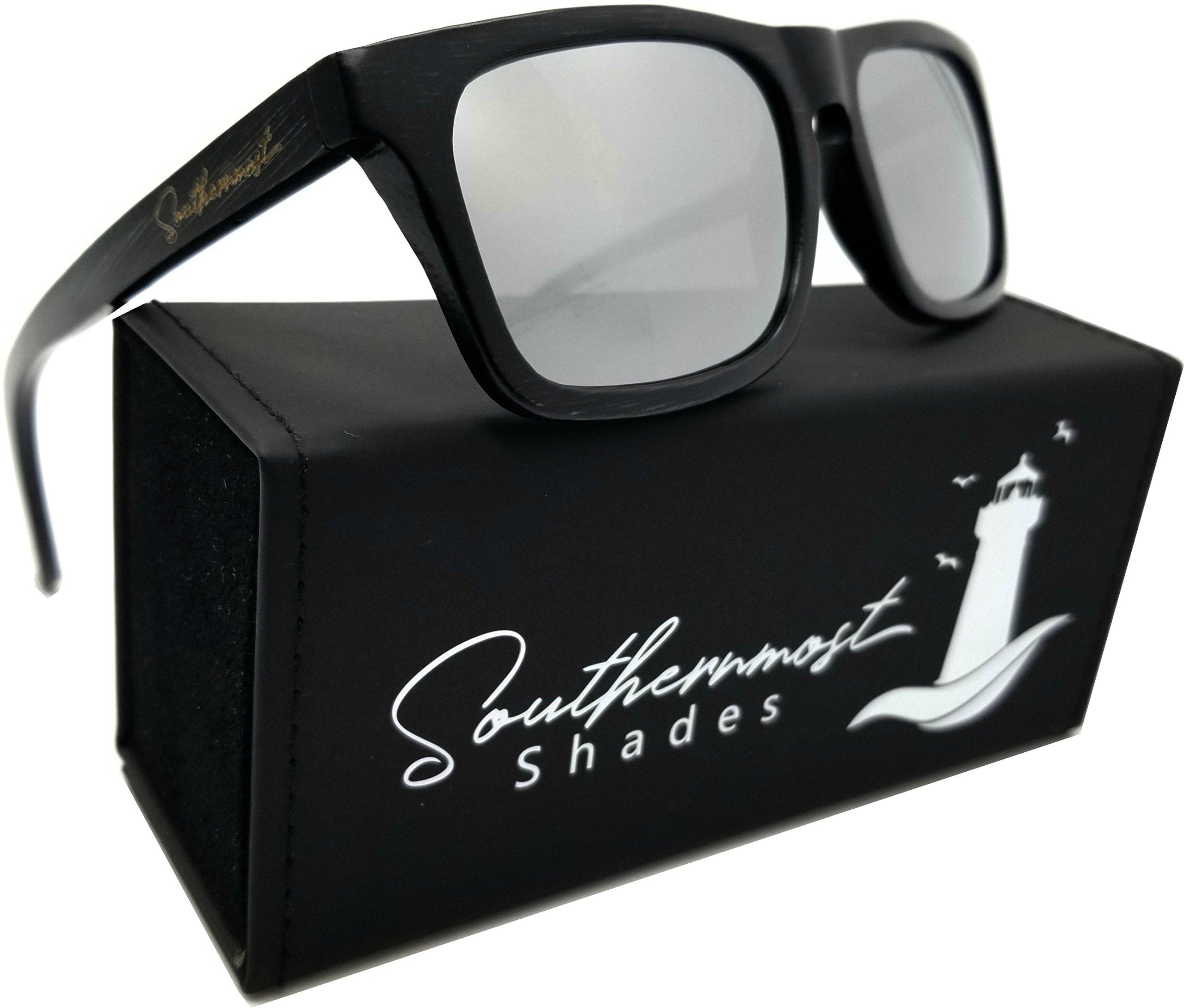 Real Bamboo Wood Sunglasses Men & Women -100% Polarized Lenses- Wooden Frame (Black Bamboo - Silver Mirror Lenses)