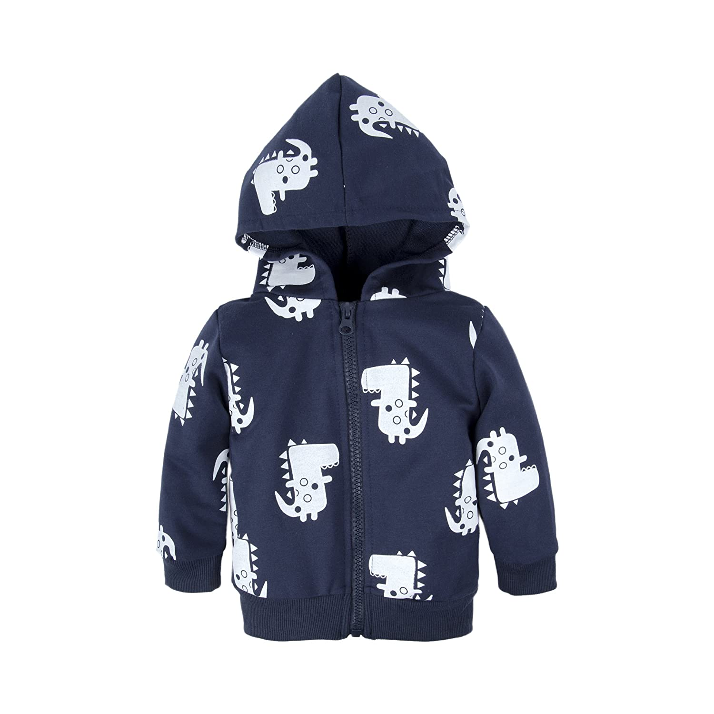 BIG ELEPHANT Baby Boys'1 Piece Hoodie Zipper Closure Long Sleeve Coat Outwear Q47C