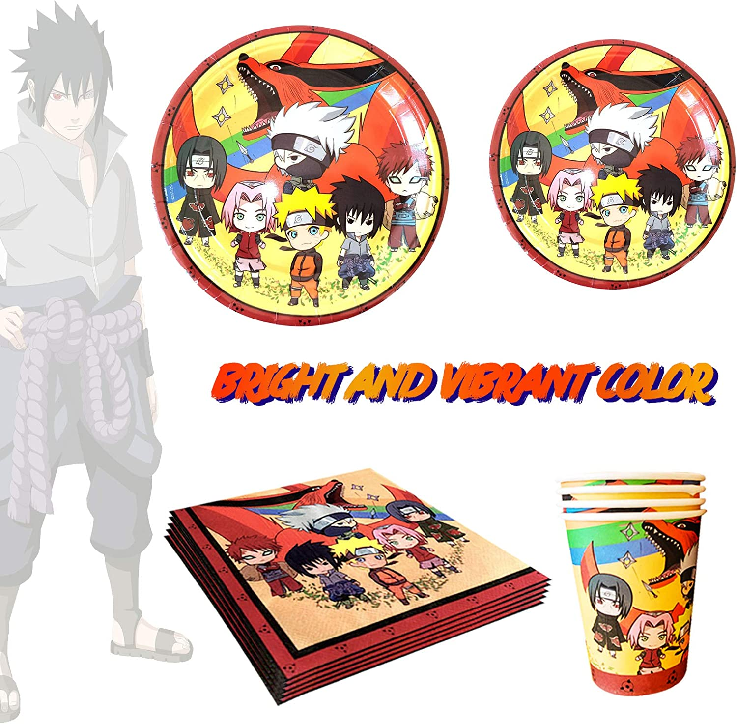 Birthday Decoration Set Include Plates Naruto Birthday Party Supplies Tablecover Napkins Cups for Anime Party Supplies Naruto Party Decorations for Fans