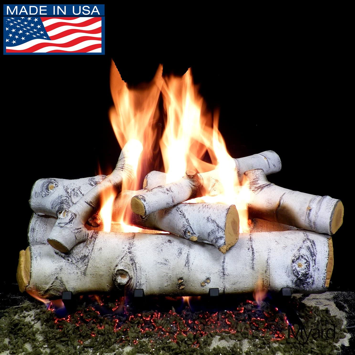 PayandPack Myard Deluxe 24 inches Sierra Birch Fire Gas Logs LOGS ONLY for Natural Gas Liquid Propane Vented Fireplace