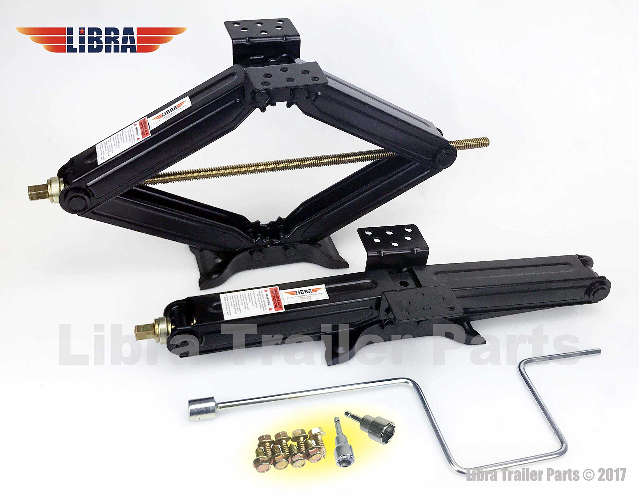 Set of 2 5000 lb 24'' RV Trailer Stabilizer Leveling Scissor Jacks w/handle & Power Drill Socket & hardware -part#26020 by Libra (Image #1)