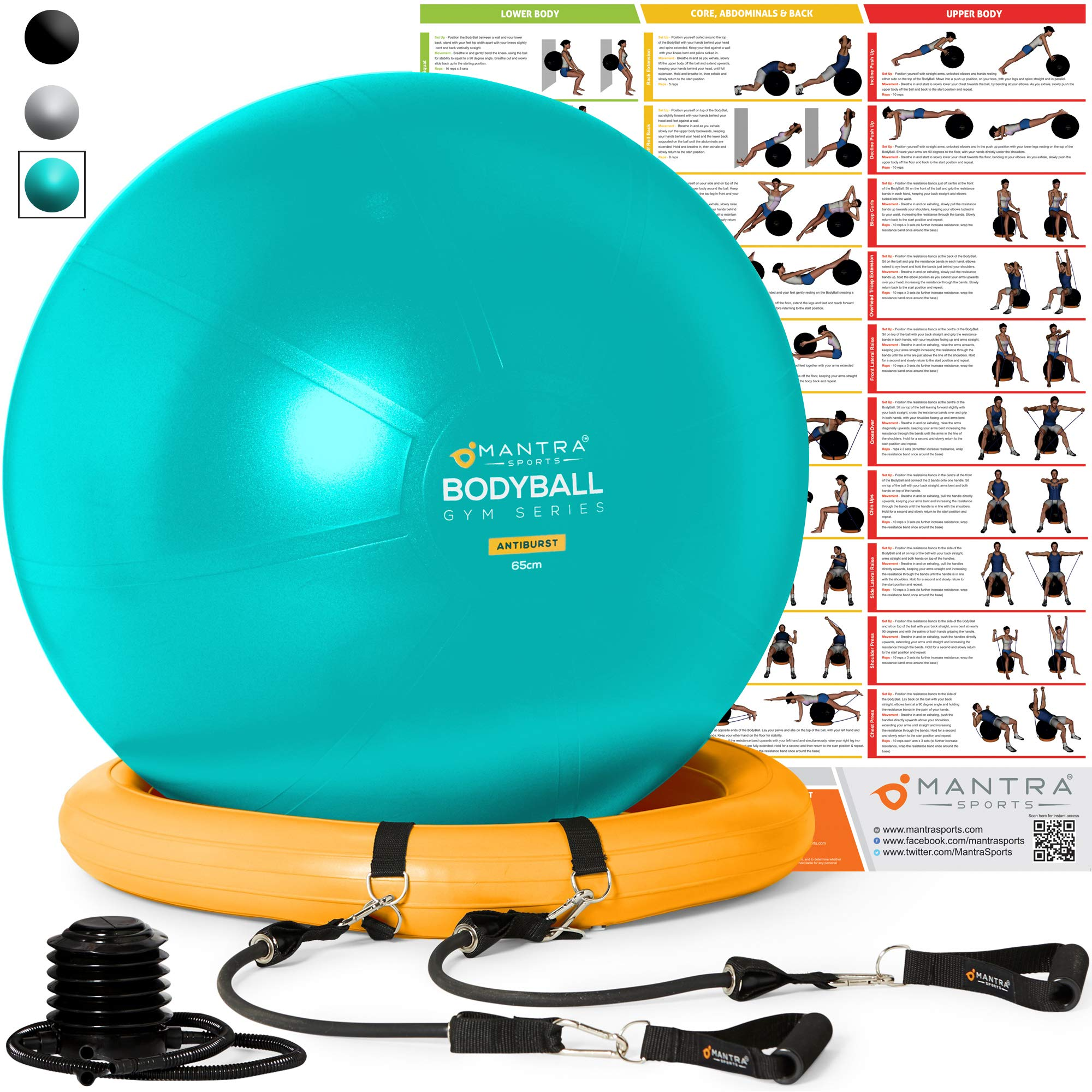 Exercise Ball Chair - 65cm & 75cm Yoga Fitness Pilates Ball & Stability Base for Home Gym & Office - Resistance Bands, Workout Poster & Pump. Improves Balance, Core Strength & Posture - Men & Women by Mantra Sports