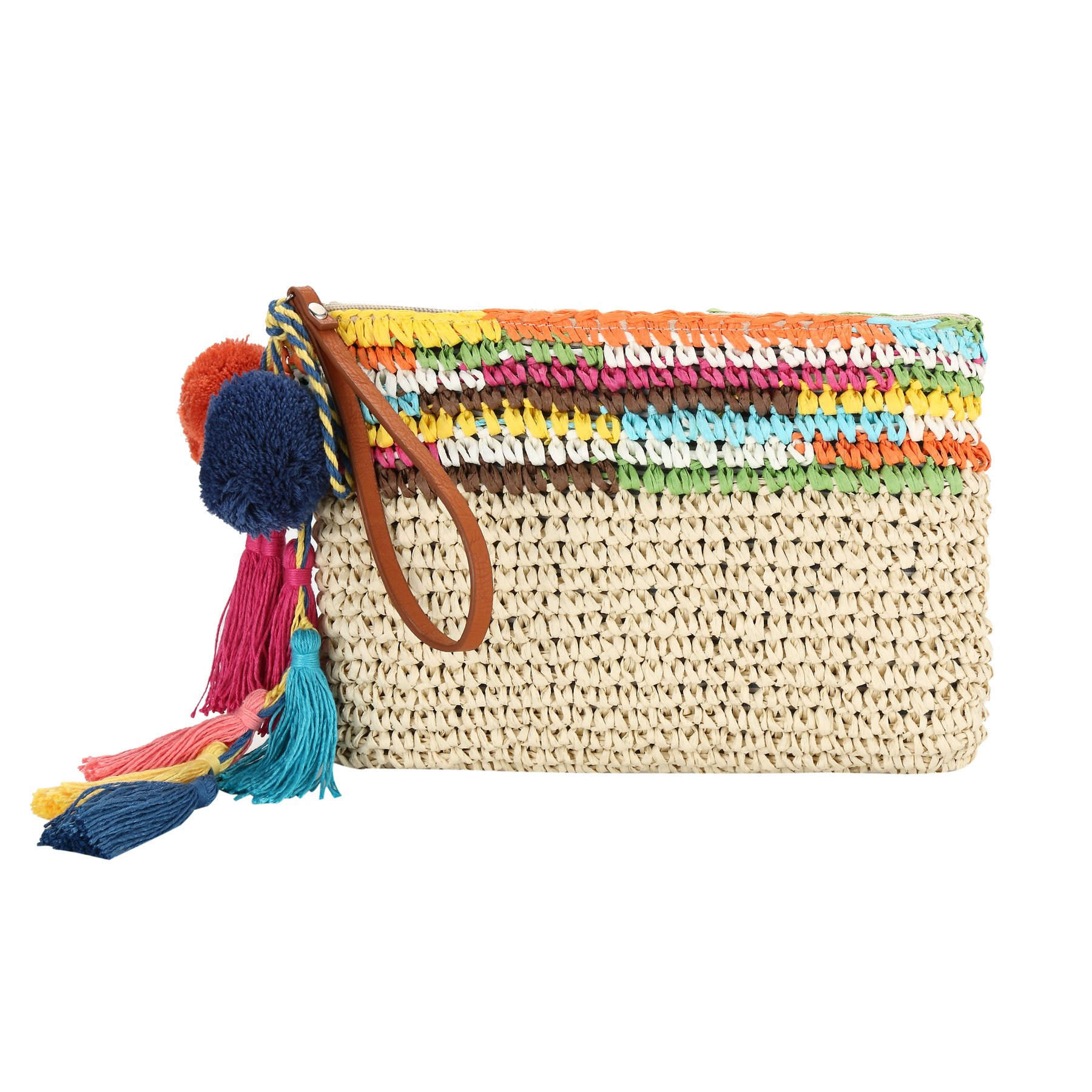 Summer Clutch Purse By Daisy Rose  Unique Straw Summer Purse & Handbag with Vegan Leather Handles and Pom Poms (White/Blue Stripes)