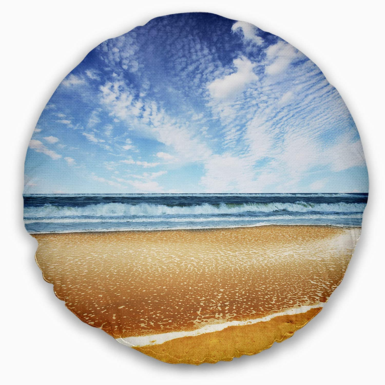 Designart CU12202-20-20-C Beautiful Sea Under Bright Sky' Seashore Round Cushion Cover for Living Room, Sofa Throw Pillow 20', Insert Printed On Both Side