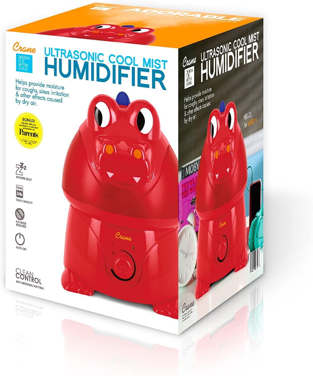 Crane Adorable Ultrasonic Cool Mist Humidifier with 2.1 Gallon Output per Day Dragon