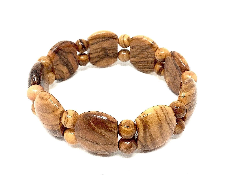 Armband aus echten Olivenholz Perlen 7mm handgemacht auf Mallorca Holzschmuck