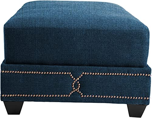 Iconic Home Teal Gianni Linen Contemporary Nail head detailing Wooden Leg Ottoman