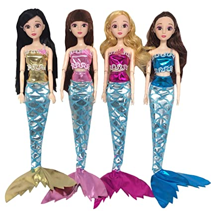 4 set assorted color girl doll clothing mermaid style outfits clothes toys accessories for barbie toys