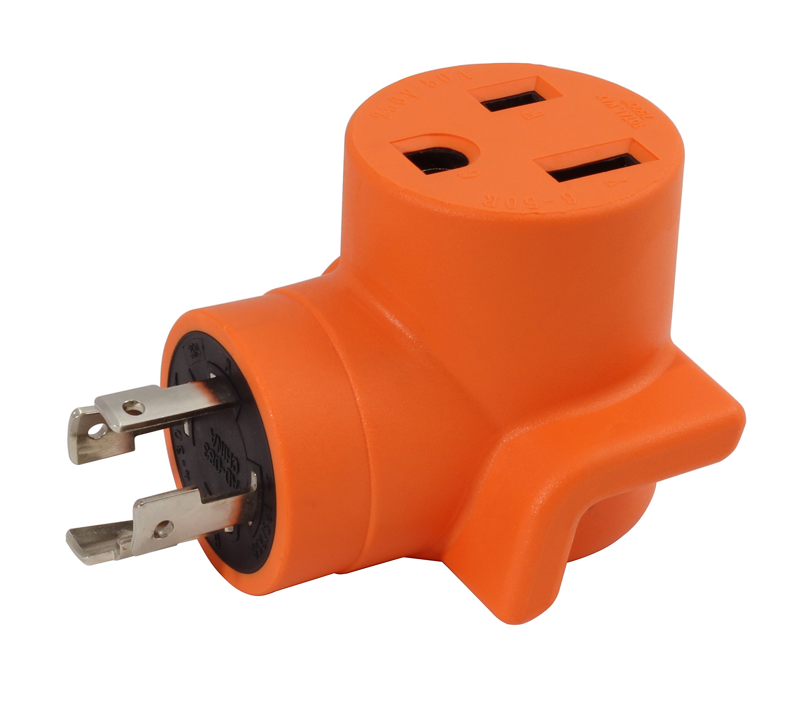 AC WORKS [WDL1430650] 30Amp 4-Prong L14-30P Generator Locking Plug to 6-50R 50Amp 250V Welder adapter