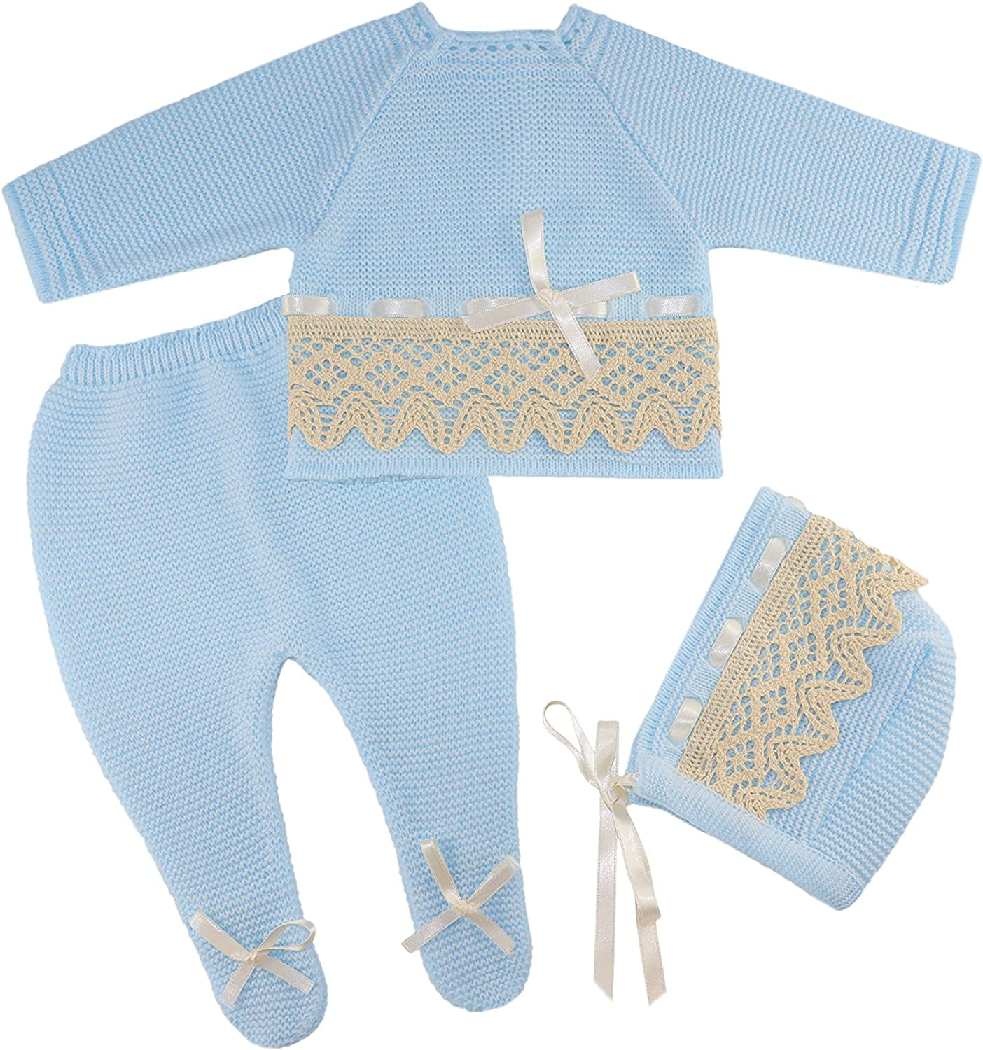 Escalett Layette Newborn Baby Knitted Clothes Set, Coming Home or Any Occasion Knit Outfit