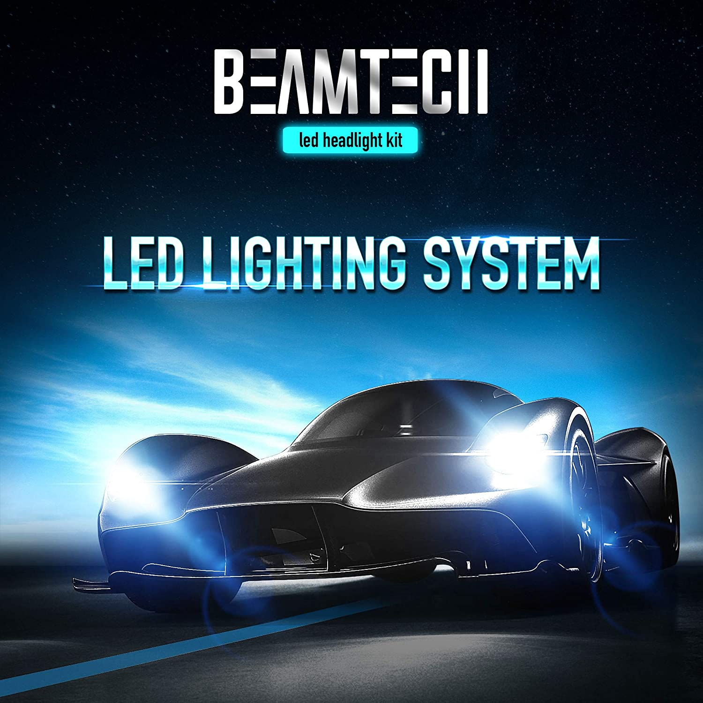 BEAMTECH LED Headlight Bulbs,H11 H8 H9 Low Beam 9005 HB3 High Beam 30mm Heatsink Base CSP Chips 10000 Lumens 6500K Conversion Kit 2 Sets