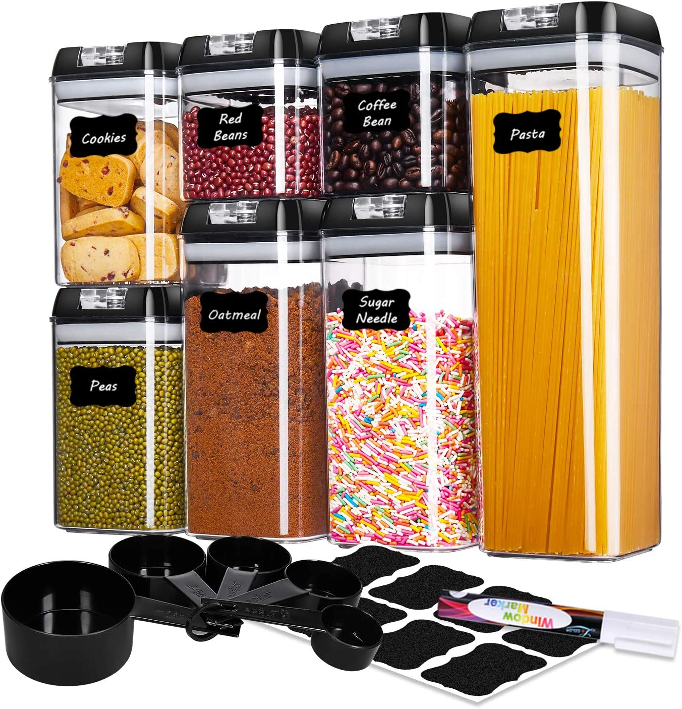 ME.FAN Food Storage Containers [Set of 7] Cereal Storage Containers Airtight Seal Pot - Kitchen Cabinet Organization with 5 Set Measuring Cups 24 Chalkboard labels & Pen (Black)