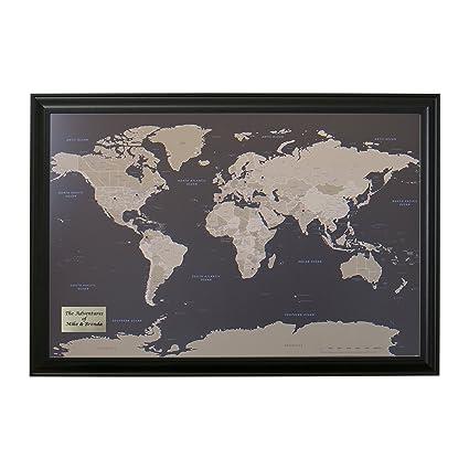 Amazon push pin travel maps personalized earth toned world with push pin travel maps personalized earth toned world with black frame and pins 24 x 36 publicscrutiny Gallery