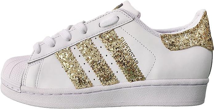 Superstar Bianche con Applicazione Tessuto Glitter Oro